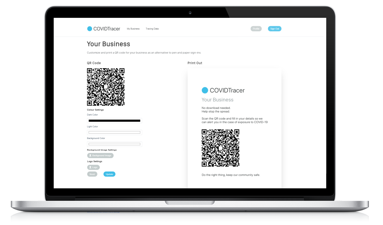 COVIDTracer-My-Business-Page
